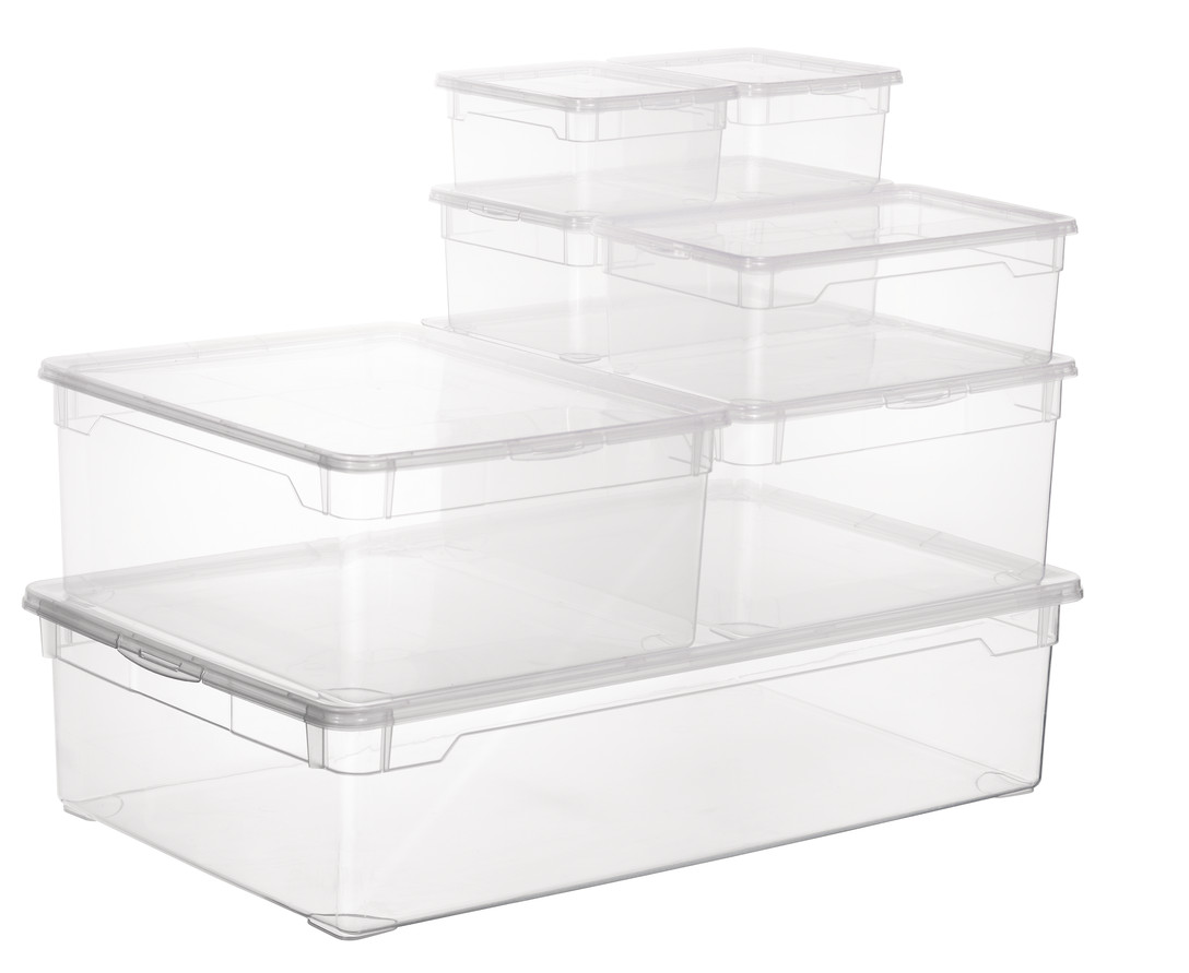 rotho clear box set shirt 6tlg schn ppchen aufbewahrung ebay. Black Bedroom Furniture Sets. Home Design Ideas