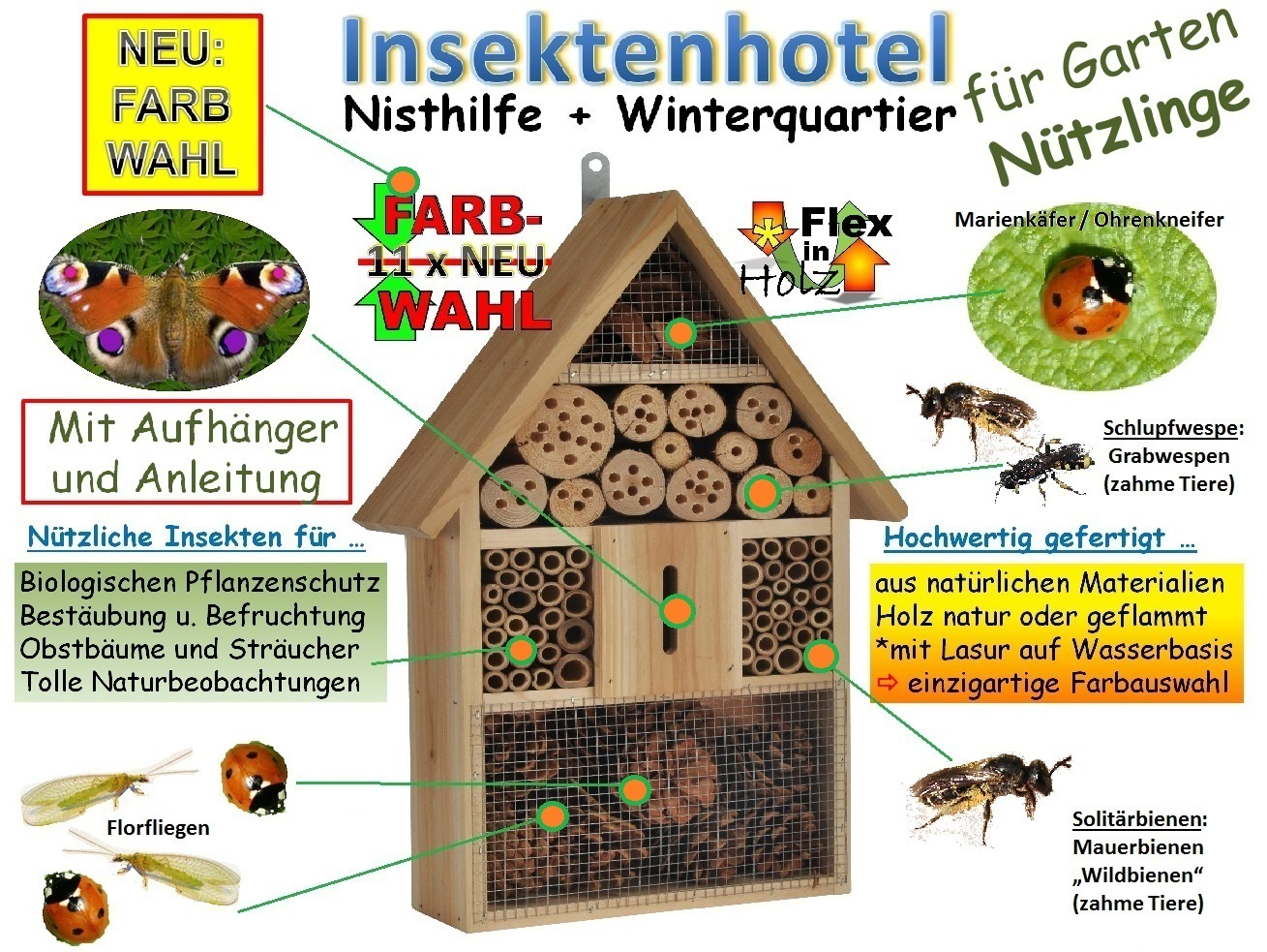 insektenhotel nr 1 holz nistkasten natur marienk fer. Black Bedroom Furniture Sets. Home Design Ideas