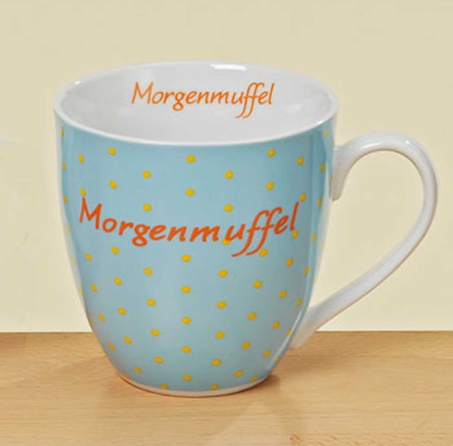 xxl tasse morgenmuffel porzellan blau h 11 cm kaffeetasse becher teetasse ebay. Black Bedroom Furniture Sets. Home Design Ideas