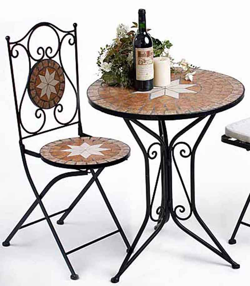 sitzgruppe runder tisch mit 2 st hlen mosaik metall gartengarnitur ebay. Black Bedroom Furniture Sets. Home Design Ideas