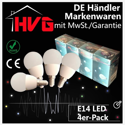 4st hvg led 3w warmwei e14 gl hbirne lampen strahler spot energiespar bulb ovp. Black Bedroom Furniture Sets. Home Design Ideas