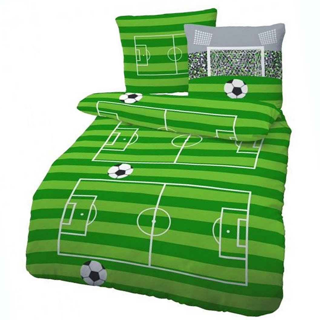 biber bettw sche fu ball spielfeld gr n 135x200 cm kinderbettw sche ebay. Black Bedroom Furniture Sets. Home Design Ideas