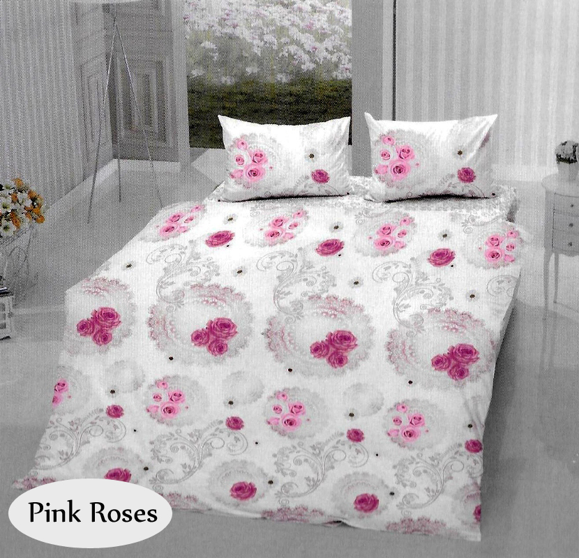 bettw sche aus baumwolle pink rosen 4 teilig bettgarnitur 200x220 bettbezug ebay. Black Bedroom Furniture Sets. Home Design Ideas